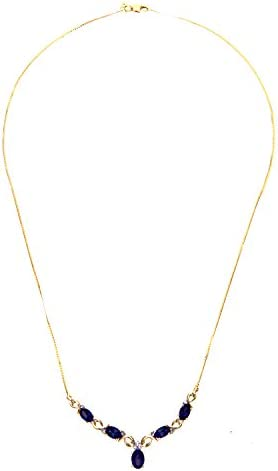 Naava Women's  Diamond and Sapphire 9 ct Yellow Gold Necklace of Length 47 cm