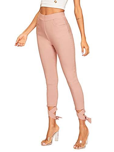WDIRARA Women's Comfy Elastic Waist Skinny Cutout Tie Bottom Pants with Pockets Pink S