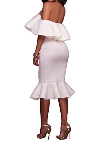 Alvaq Women's Off The Shoulder Evening Party Mermaid Midi Dress Large White