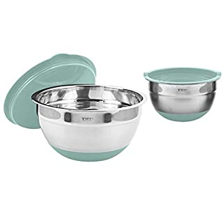 EHZ Mixing Bowls Stainless Steel, Prep Salad Bowl Set with Lids Non-slip Silicone Bottom Nesting Mixing Bowl for Cooking, Baking, Prepping & Food Storage (Aqua-4pcs)