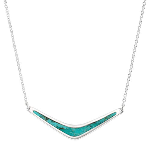 (Silpada 'Reversible Boomerang' Compressed Turquoise Necklace in Sterling Silver)