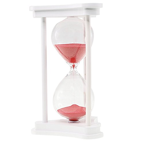 SZAT Hourglass Sand Timer Clock Romantic Mantel Office Desk Coffee Table Book Shelf Curio Cabinet Christmas Birthday Present Gift Box Package(Red, Wood,30 - Silver Sands Hours