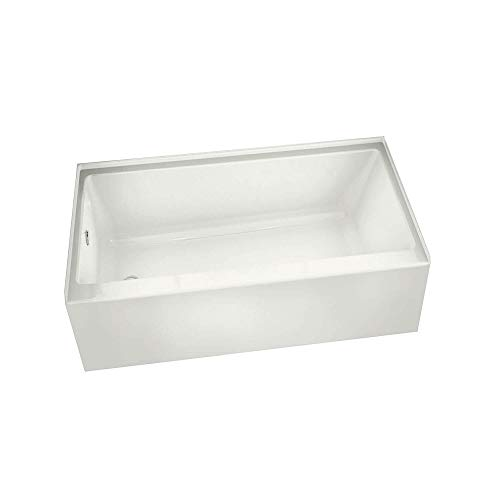 MAAX 105815-L-000-001 Rubix Rectangular Acrylic Soaking Bathtub with Left Hand Drain, Integrated Tiling Flange and Skirt 59.75-in L x 30-in W x 18.375-in H - Tub Rectangular Soaking