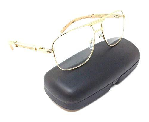 (Executive Metal & Wood Aviator Eyeglasses/Clear Lens Sunglasses - Frames (Rose Gold & Light Brown Wood w/Case,)