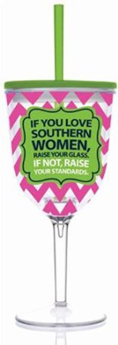 Slant - If You Love Southern Women Double Wall Acrylic Wine Glass With Straw