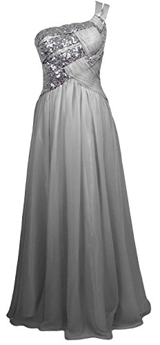 MACloth Women One Shoulder Long Briesmaid Dress Wedding Evening Party Gown Plateado