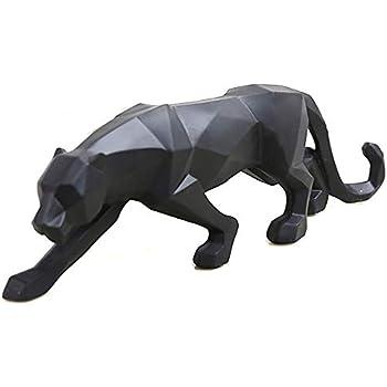 wyhweilong Black Panther Sculpture Modern Geometric Resin Leopard Statue Wildlife Decor Gift (Black)