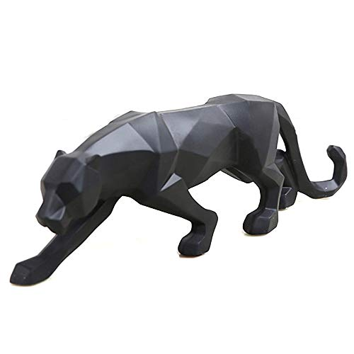 wyhweilong Black Panther Sculpture Modern Geometric Resin Leopard Statue Wildlife Decor Gift (Black)