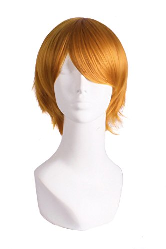 MapofBeauty Men's Short Straight Wig Cosplay Costume Wig (Golden Orange) ()