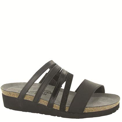 NAOT Footwear's Women's Peyton Sandal Oily Coal Nubuck/Black Crackle Lthr/Black Madras Lthr/Jet Black Lthr/Brushed Black Lthr 5 M US