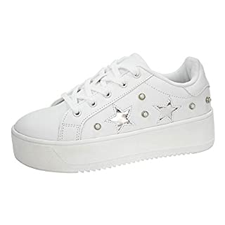 LUCKY-STEP Fashion Platform Women Sneakers - Air Force Faux Suede Stars Holographic Rainbow Walking Shoes with Round Toe (White,8 B(M) US)