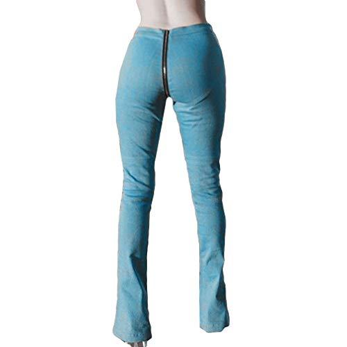 Da Micro Jeans Donna Tromba Larghi Dietro Blu Semplici Chiaro Unita Sexy Pantaloni Nero Scuro Zip E xl S Tinta Davanti w05xdYq4