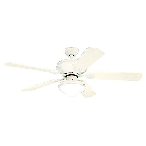 Westinghouse Lighting 7809620 Verandah Breeze II Two-Light 52-Inch Five-Blade Indoor/Outdoor Ceiling Fan, White with Opal Teardrop Glass (Glass Opal Drop)
