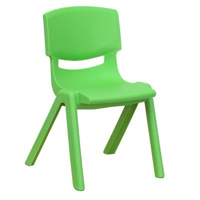 Plastic Classroom Chair [Set of 2] Seat Color: Green, Seat Height: 12.25'' by Flash Furniture