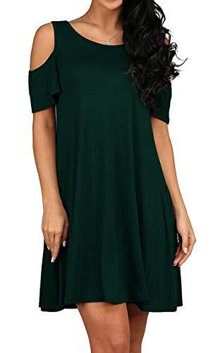 QIXING Women's Summer Short Sleeve Casual Loose T-Shirt Dress Dark Green-XL