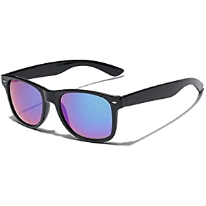 Square Horn Rimmed Reflective Mirror Lens Sunglasses