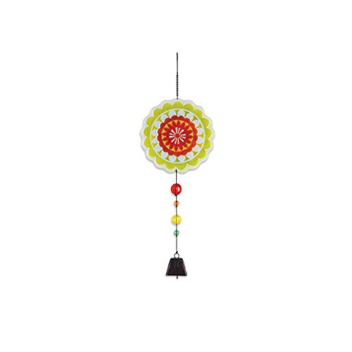 ith Beads Floral Green 22 inch Glass Iron Wind Noisemaker Bell ()