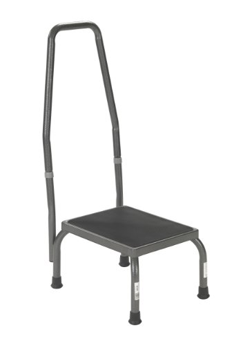 Drive Medical Footstool with Non Skid Rubber Platform and Handrail