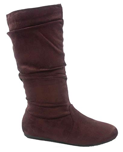 Wells Collection Womens Boots Soft Slouchy Flat to Low Heel Under Knee High, Brown, 8.5 ()