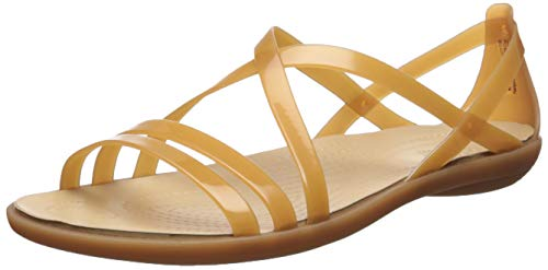 (Crocs Women's Isabella Strappy Sandal Flat, Dark Gold, 11 M US)