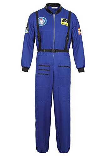 Men's Adult Astronaut Spaceman Costume Coverall Pilot Air Force Flight Jumpsuit Halloween Dress Up Party Blue-XL