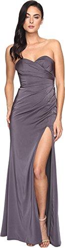 Faviana Women's Faille Satin Strapless w/ Side Draping 7891 Smoke Grey Dress