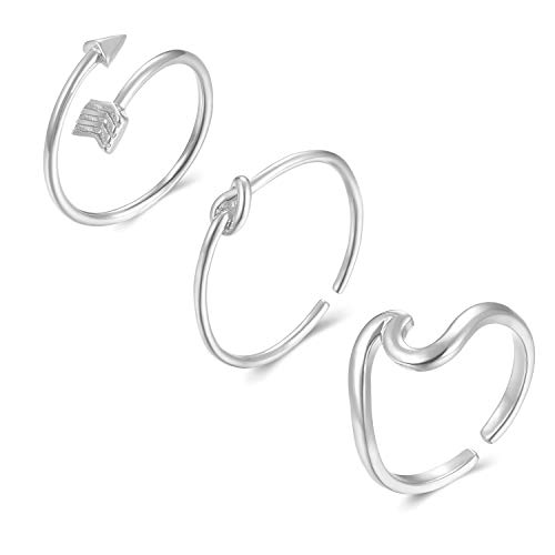 (Long tiantian 3 Pcs Simple Adjustable Rings Set for Women,Love Knot Arrow Wave Ring Sets for Teen Girls Size 6-9 (A:3SET-S))