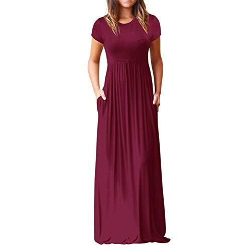Purple Boho Beach Pleated Long Maxi Dress Women Pockets Casual Slim Draped Sundress Dress O Neck Short Sleeve Party Dresses,Burgundy,XL