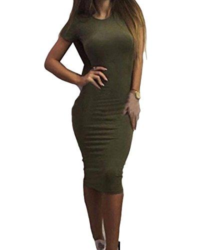 Slim Grembiule Womens Comodi Fit Corta Elegante Scollo A Verde Manica xxaUqXF