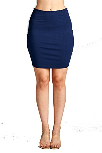 YourStyle Stretch Bodycon Mini Pencil Ponte Skirt (Medium, 2756-Dark Navy)