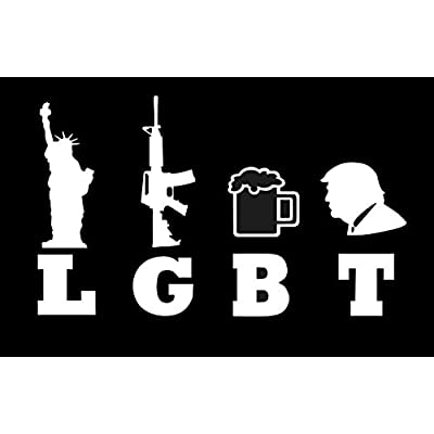 "LGBT Liberty Guns Beer Trump- 5"" Decal {WHITE} III%, 3 Percent, Militia, Gadsen, Patriot, Veteran, USMC, ARMY, USAF, NAVY, 2nd Amendment, Marine, sticker, vinyl, Come and Take It, M16, molon labe: Automotive"
