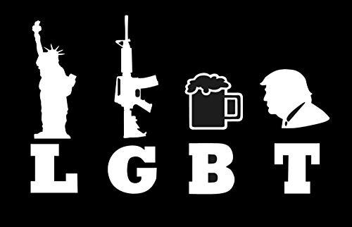 ARMY Marine 3 Percent LGBT Liberty Guns Beer Trump- 5 Decal {WHITE} III/% Militia molon labe USMC M16 vinyl Veteran sticker NAVY 2nd Amendment Come and Take It Patriot USAF Gadsen