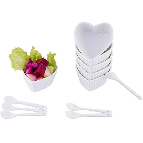(AHUA Ramekins Collection Porcelain Soufle Dishes (4 Oz - Set of 6, White - Lovely Heart-shaped Stripe Rims porcelain Dip Bowls) (Lovely Heart))