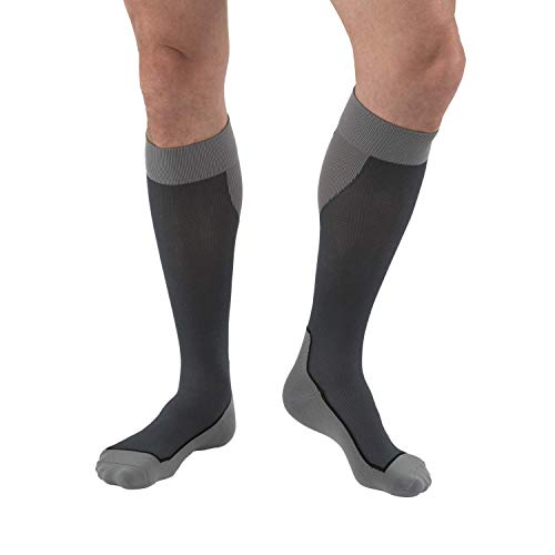 JOBST Sport Knee High 15-20 mmHg Compression Socks, Black/Grey, Medium ()