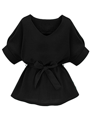 Milumia Women's V Neckline Self Tie Short Sleeve Blouse Tunic Tops Black -