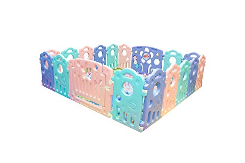 Baby Playpen: 16 Bear Panel + 2 Gates | Portable Play Yard with Gate for Babies, Infant, Toddlers | Large Indoor/Outdoor Plastic Play Pen with Panels | Safety Locking Playgate Fence for Kids