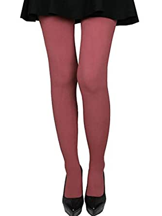 Women's Stretchy 70D Microfiber Opaque Solid Color Footed Pantyhose Tights (Indian red)