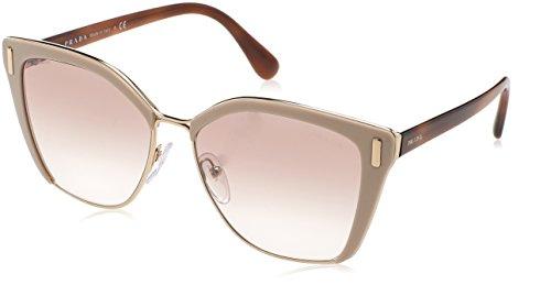 Prada Women's 0PR 56TS Light Brown/Gradient Brown Silver Mirror - Oval Shape Women Face