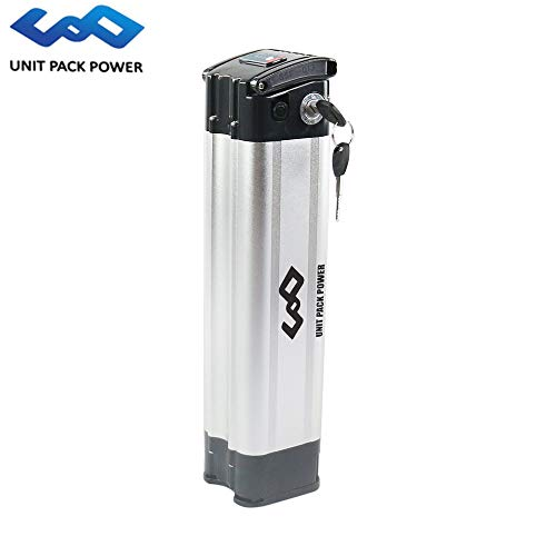UnitPackPower 36V 18AH Lithium ion E-Bike Battery Silver Fish for 18650 Cells with Potable Handle, fits 36V 500W E-Bike Motor/Mountain Bike/Road Bike/Cyclocross Bike/Scooter (24V 13AH)