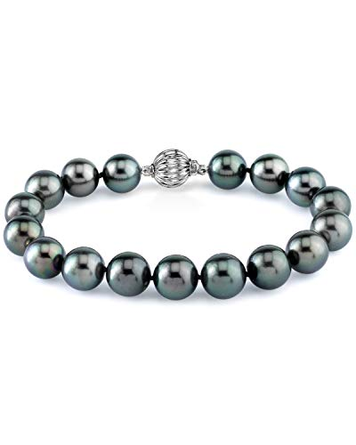 THE PEARL SOURCE 14K Gold 8-9mm Round Black Tahitian South Sea Cultured Pearl Bracelet for Women