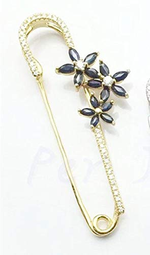 (LTH12 Hair Jewelry,Brooches & Body Jewelry - Natural Sapphire Brooch Natural Real Sapphire 925 Sterling Silver Flower Brooch 0.13ct5pcs,0.24ct10pcs gems 1 PCs)