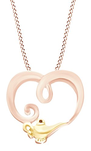 AFFY Simulated Brown CZ Heart Genie Lamp Pendant Necklace in 14k Rose Gold Over Sterling Silver ()