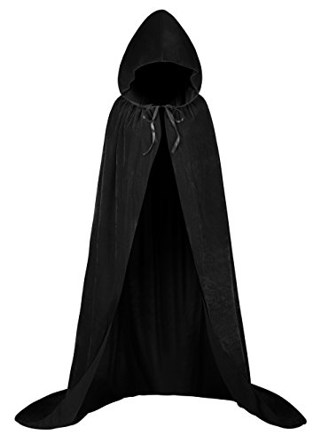 Men's Evil Knight Costumes (Unisex Halloween Full Length Hooded cloak Cosplay Dress Velvet Cape Vampire Witch Devil Costume Cloak, Black 59 Inches)