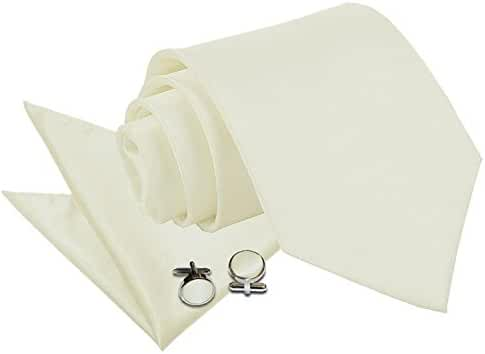 Solid Plain Satin Men's Casual Wedding Necktie Pocket Square Cufflinks Set