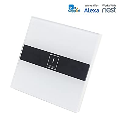 WiFi Smart Touch Switch (N wire required), Work with Alexa control Led wall light via phone anytime anywhere(1 gang)
