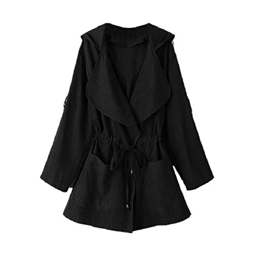 Trench Giacca A Coulisse Mogogowomen Vento Spolverino Outwear Nero Giacca All'aperto 8qCa8Ftgw