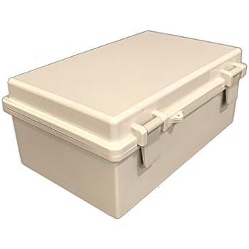 "BUD Industries NBB-22241 Style B Plastic NEMA Box with Solid Indoor, 10-23/32"" Length x 6-25/32"" Width x 4-21/64"" Height, Light Gray Finish"