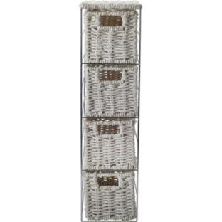 Good Quality Slimline 4 Drawer Storage Tower - White Choicefullbargain