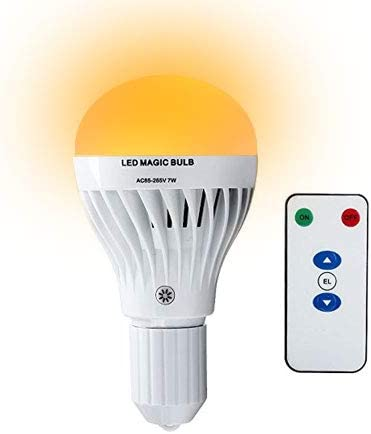CHEEKON 160729,AC 85-265V 7W LED Magic Bulb with Remote Controller,White Emergency Light with Rechargeable Built-in Battery E29 Lamp for Home Indoor Lighting.