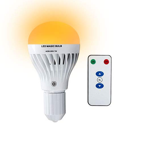 CHEEKON 160729,AC 85-265V 7W LED Magic Bulb with Remote Controller,White Emergency Light with Rechargeable Built-in Battery E29 Lamp for Home Indoor Lighting. ()